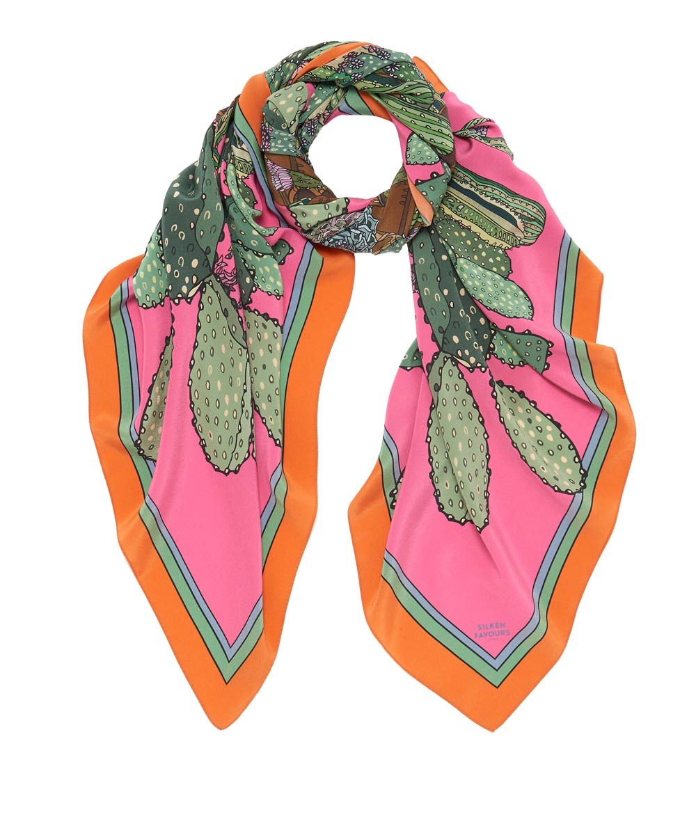 combustible cacti silk scarf pink silken favours
