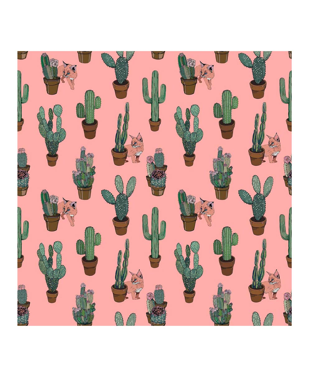 Pre Order Cactus And Cats Peach Wallpaper Silken Favours